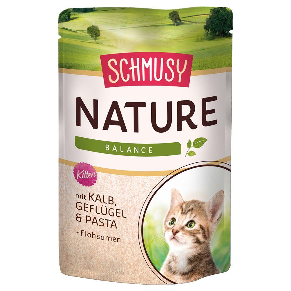Megapakiet Schmusy Nature Balance Kitten w saszetkach, 24 x 100 g - Cielęcina z drobiem, makaronem i nasionami psyllium