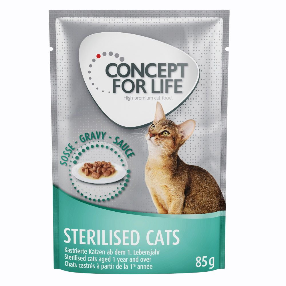 36 + 12 på köpet! Concept for Life våtfoder 48 x 85 g - Sensitive Cats i sås