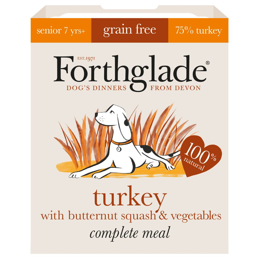 Forthglade Complete Meal Grain-Free Senior 7+ Dog - Turkey - Saver Pack: 36 x 395g