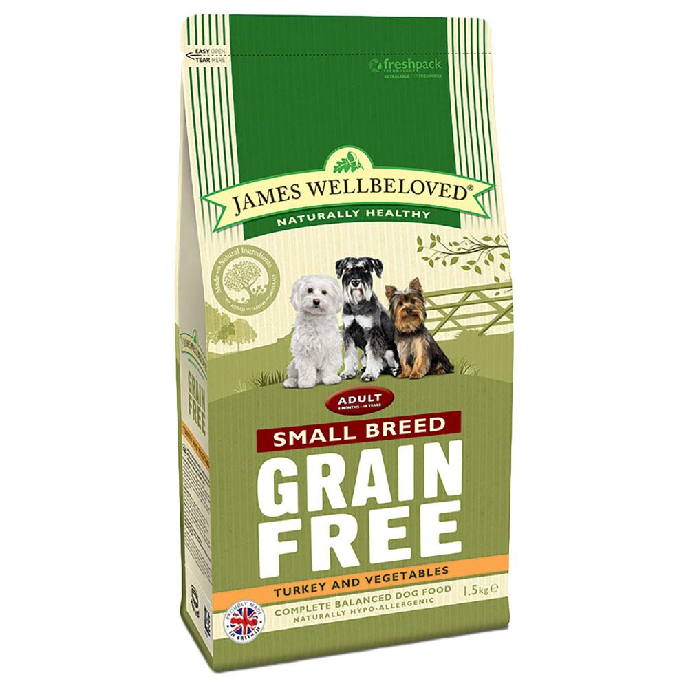 James Wellbeloved Turkey & Veg Adult Small Breed Grain Free - Economy Pack: 3 x 1.5kg