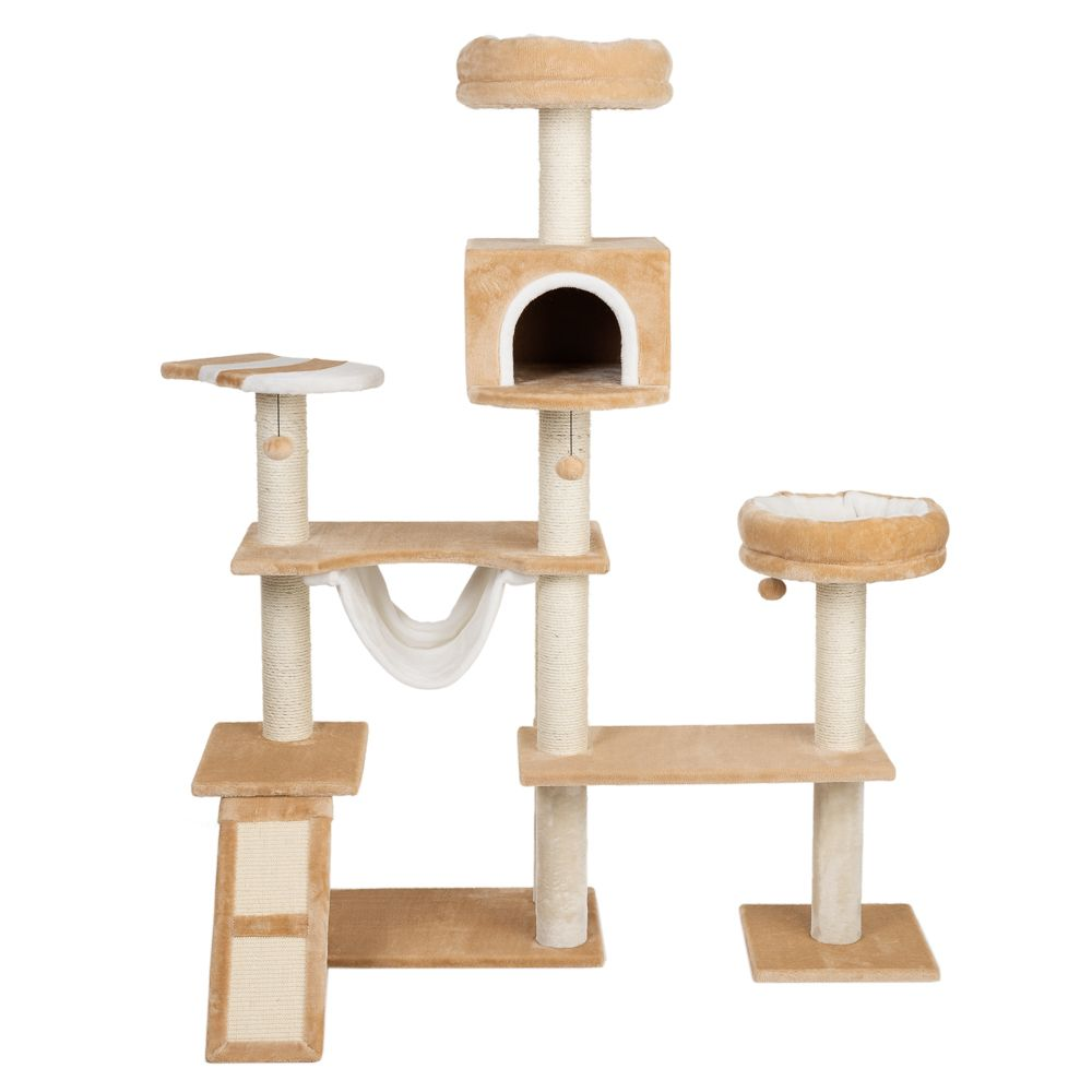 Beige Gingerbread House Cat Tree with Ladder