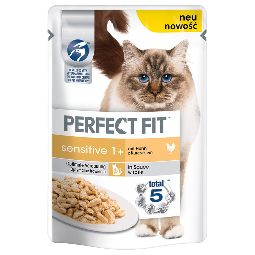 Salmon in Sauce Sensitive 1+ Pouches Perfect Fit Wet Cat Food