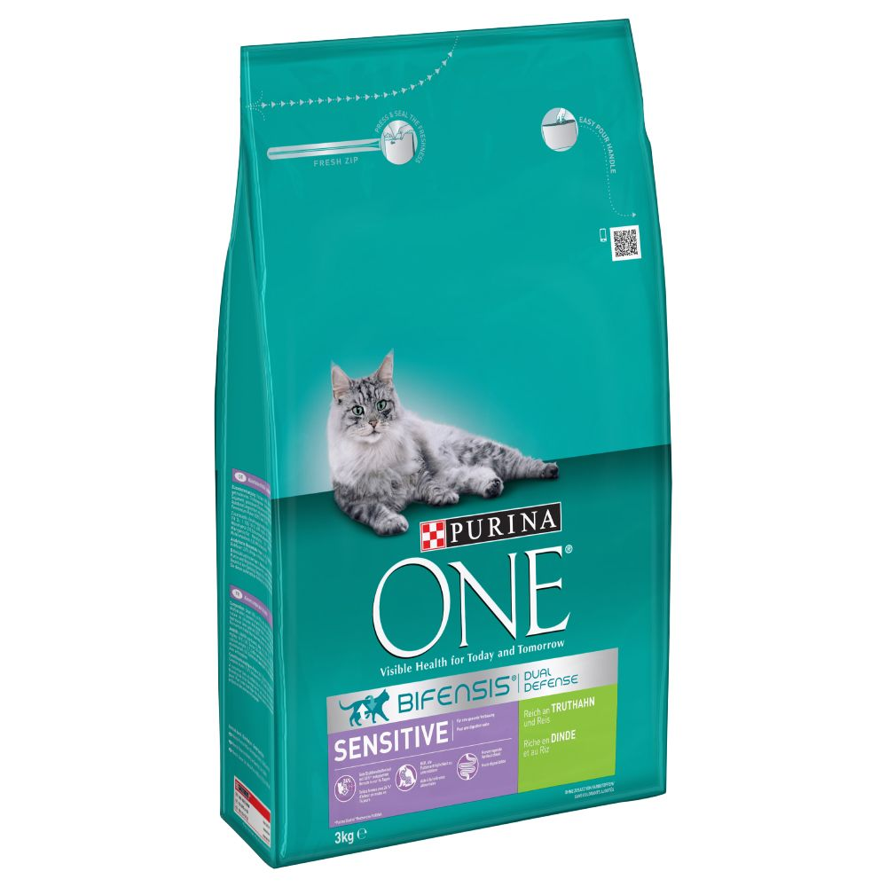 4 x 3kg Purina ONE Dry Cat Food - 15% Off!* - Sensitive Turkey & Rice (4 x 3kg)