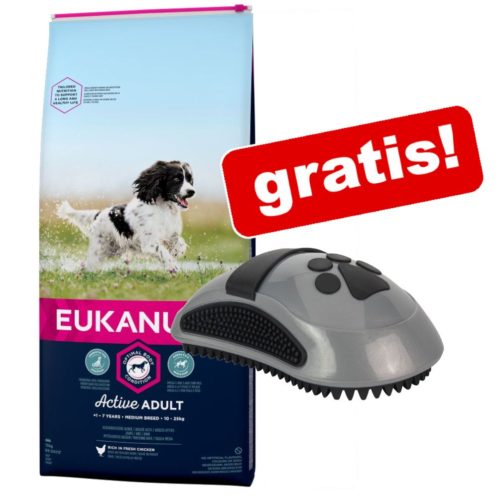 Eukanuba hundfoder + FURminator Curry Comb massageborste på köpet! - Thriving Mature & Medium Breed Chicken 15 kg