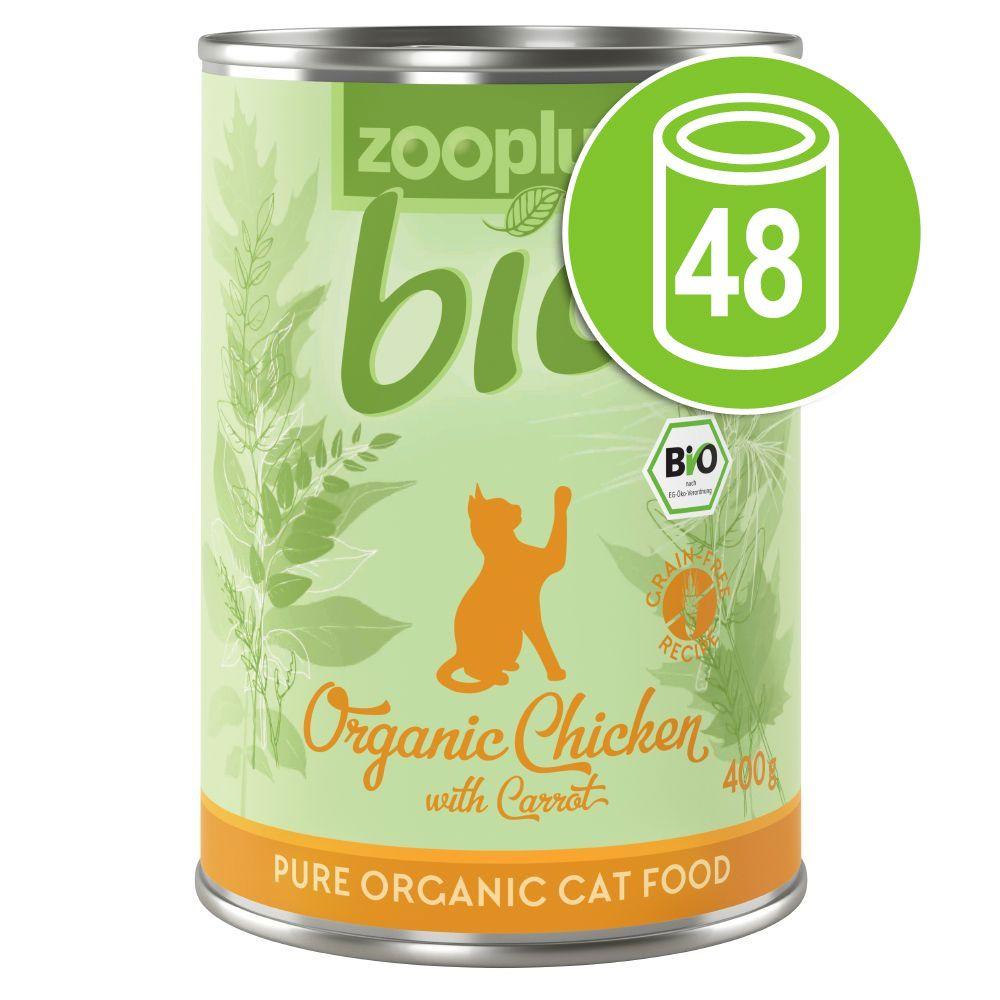 48x400g zooplus Bio poulet, carotte - Pâtée pour chat