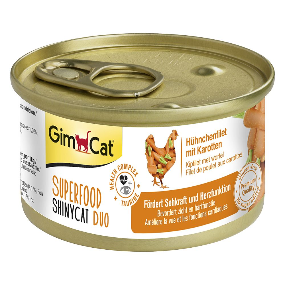 6 x 70g GimCat Superfood ShinyCat Duo + 50g GimCat Cat Paste Free