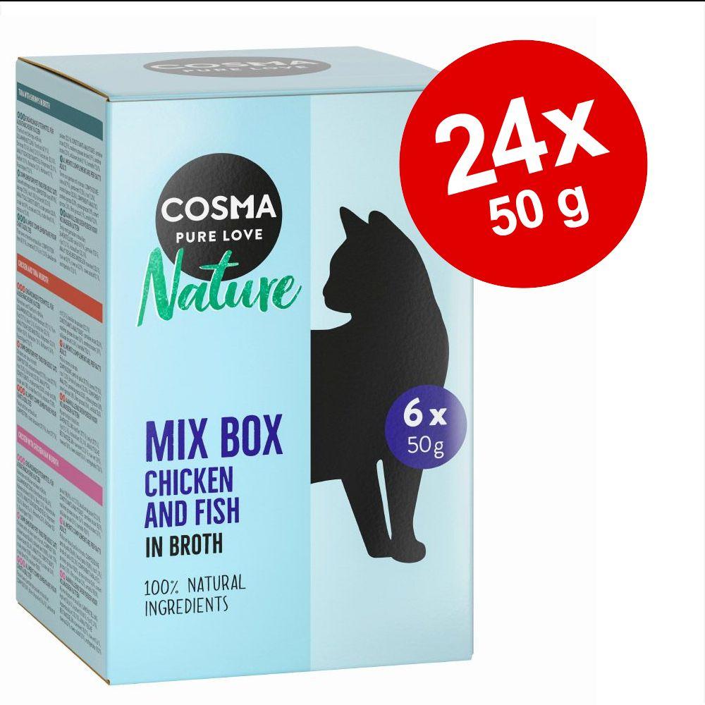 Ekonomipack: 24 x 50 g Cosma Nature i portionspåse - Tonfisk & räkor