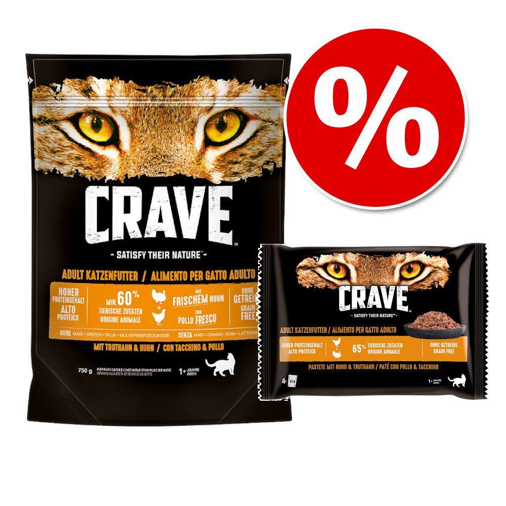 750 g Crave Adult torrfoder katt + 4 x 85 g Crave Pouch till sparpris! - Salmon & White Fish (750 g) + Paté Chicken & Turkey (4 x 85 g)