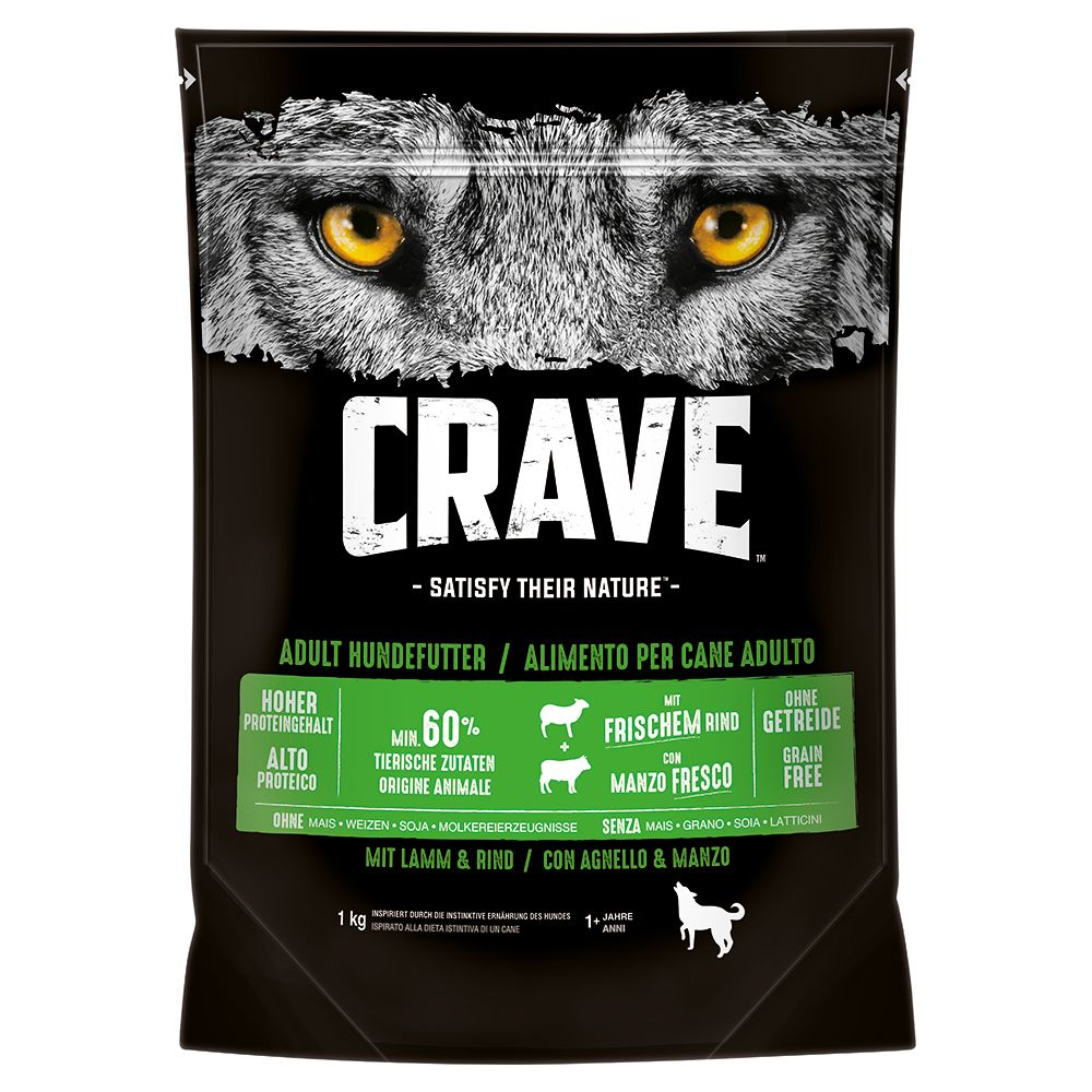 3x1kg Lamb & Beef Adult Crave Dry Dog Food