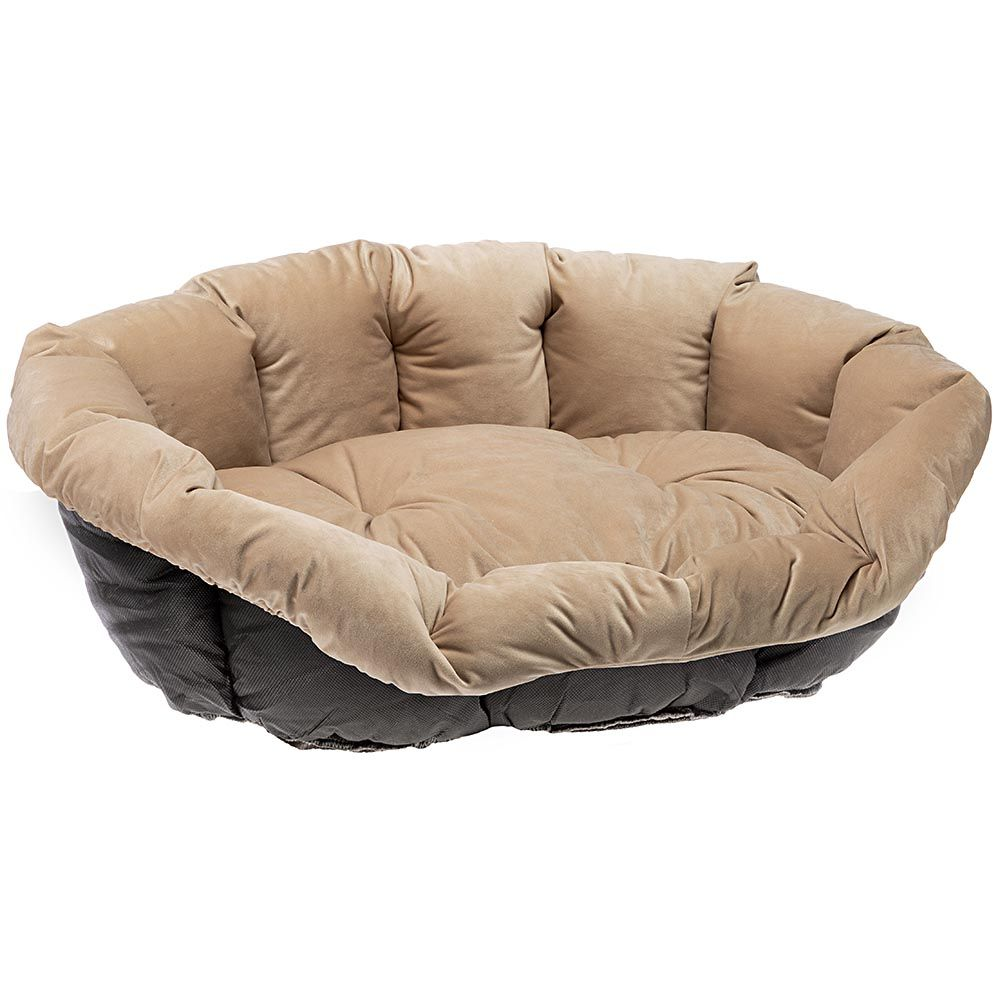 Ferplast Siesta Deluxe Dog Basket with Cover Beige Velvet