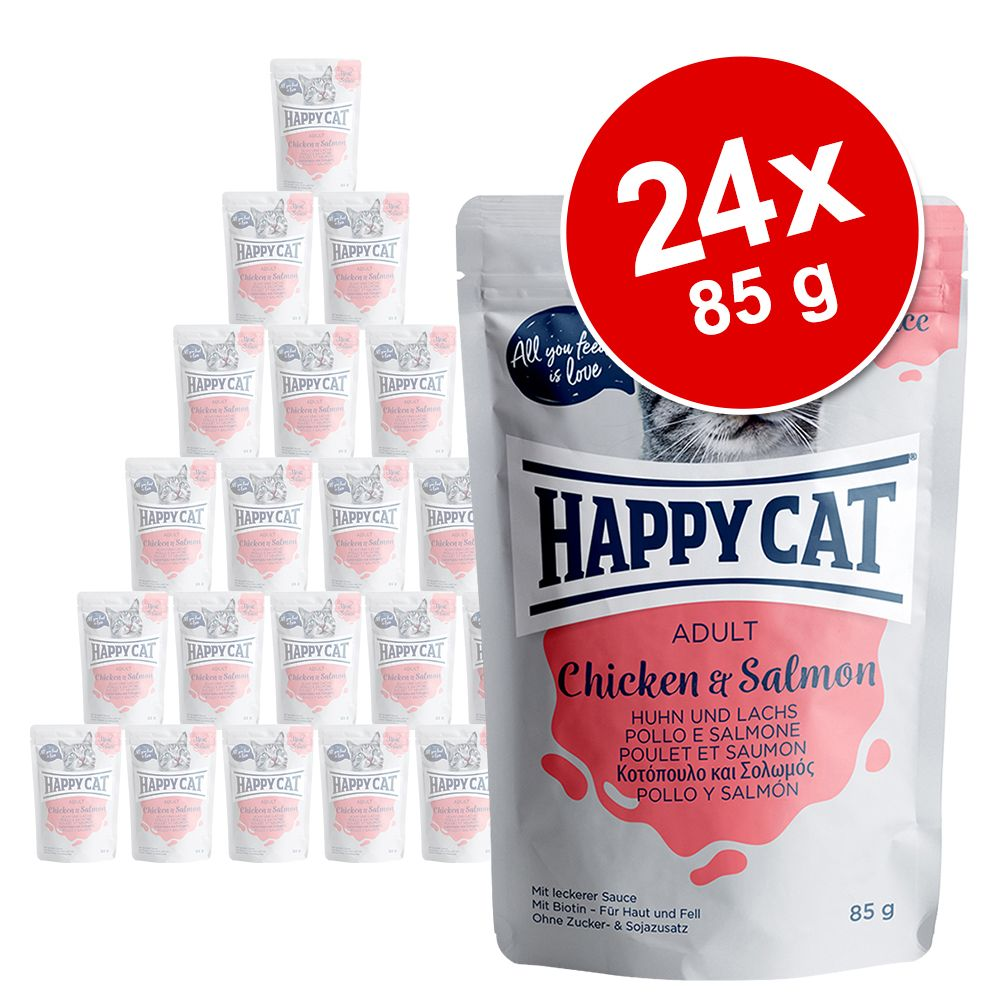 Ekonomipack: Happy Cat Pouch Meat in Sauce 24 x 85 g - Kyckling & kalkon