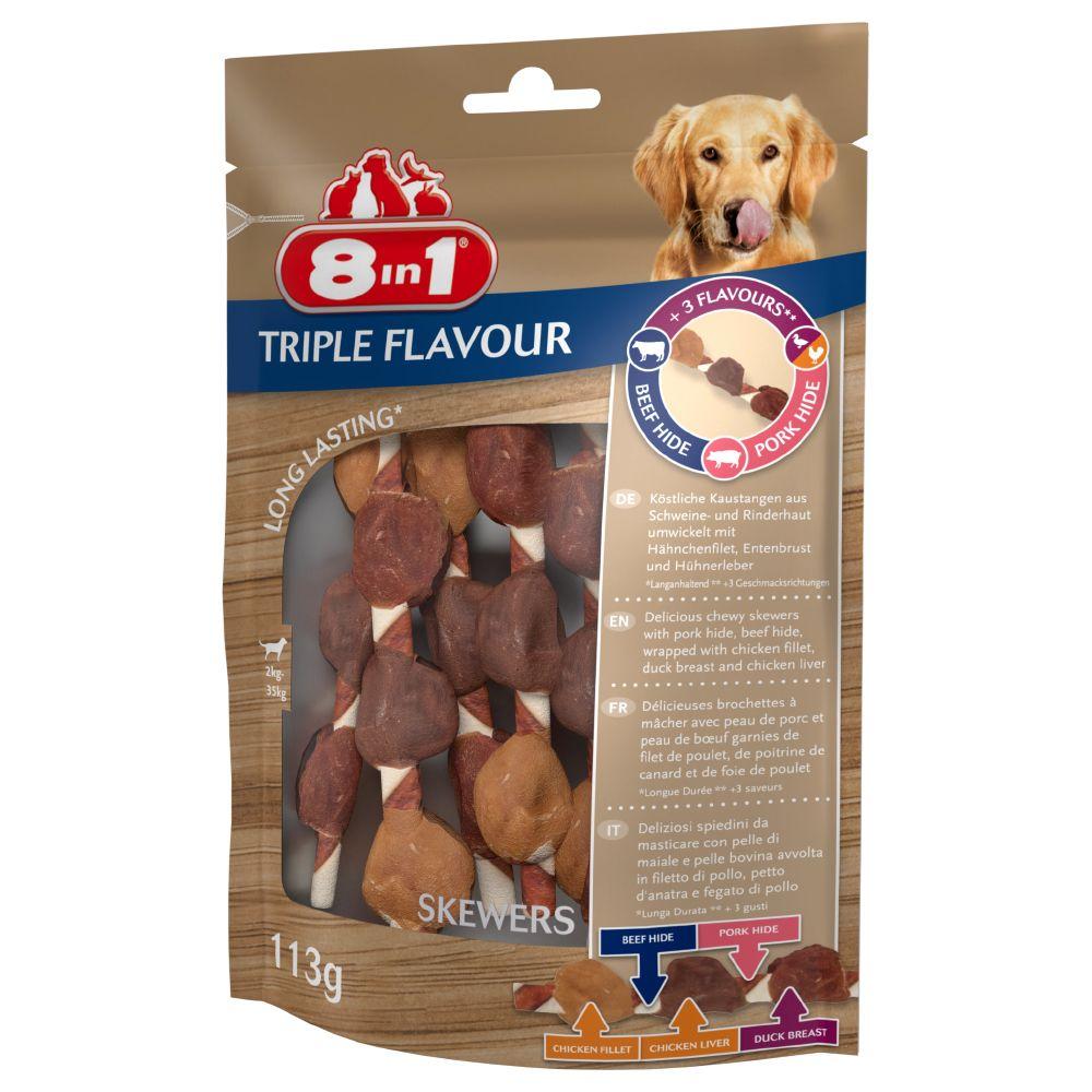 113g 8in1 Triple Flavour Brochettes à mâcher (6 brochettes) - Friandises pour chien