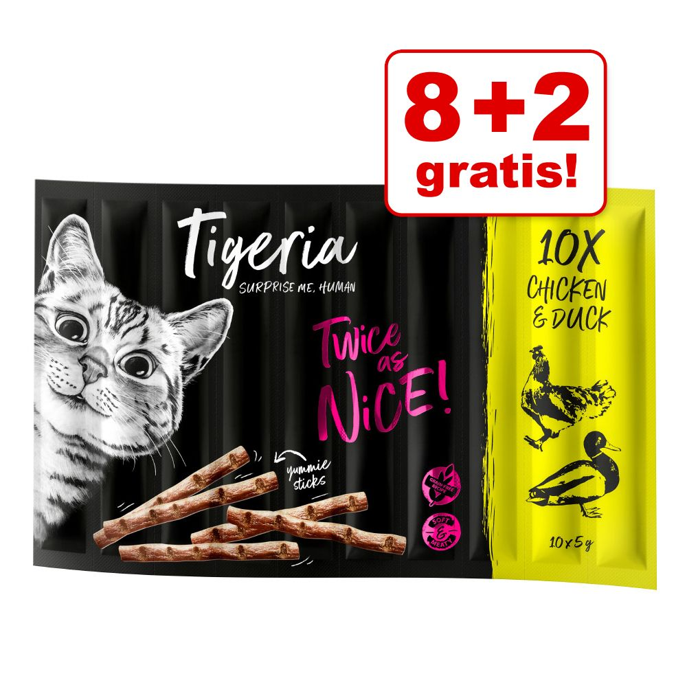 8 + 2 på köpet! 10 x 5 g Tigeria Sticks - Mix (4 sorter)