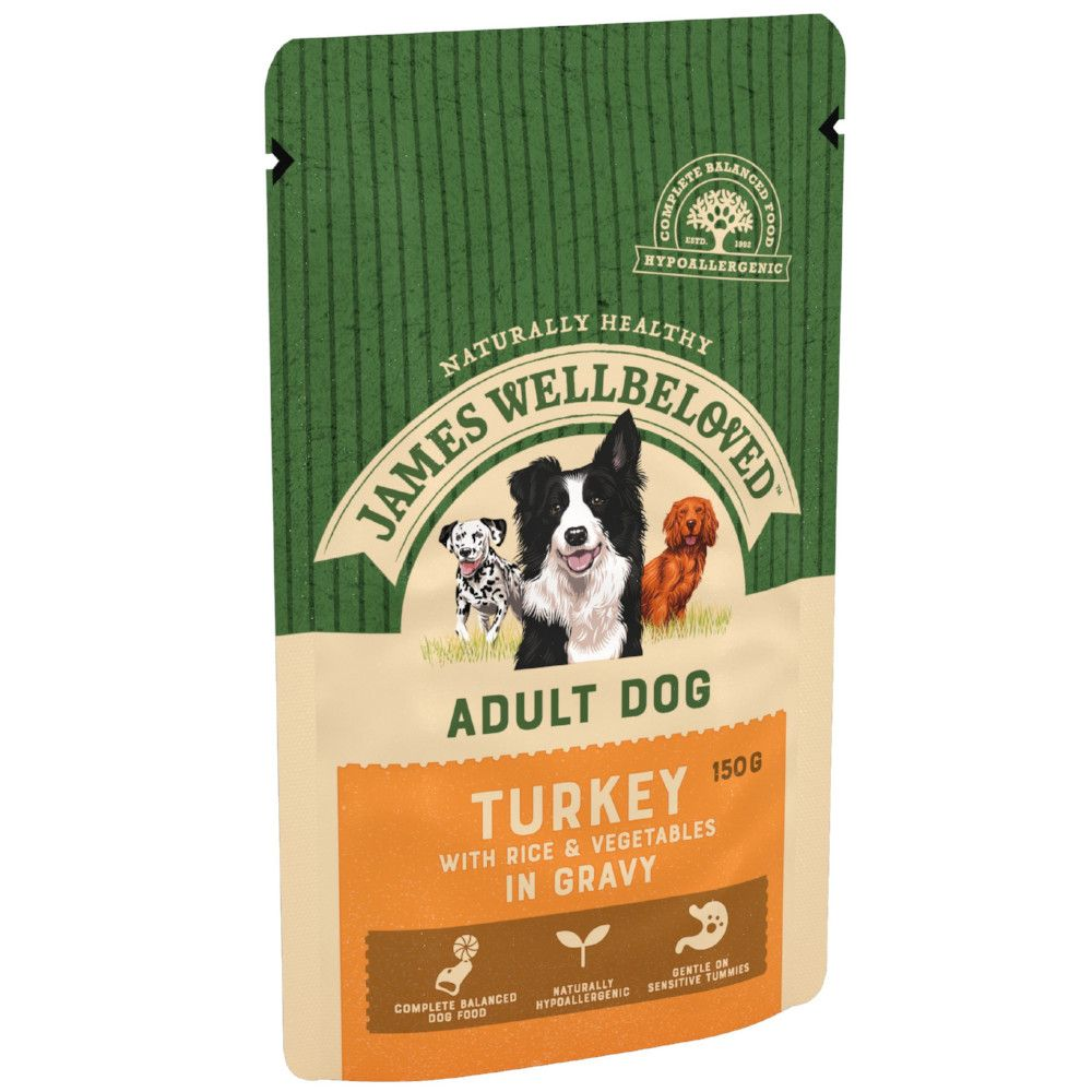 Adult Turkey & Rice James Wellbeloved Dog Pouches