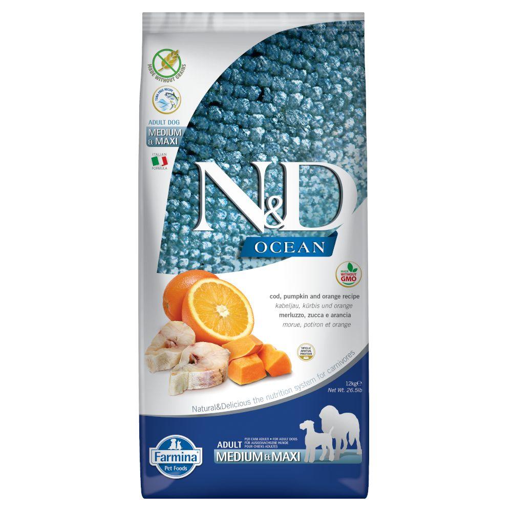 Farmina N&D getreidefrei Ocean Kabeljau, Kürbis & Orange Medium & Maxi - 12 kg