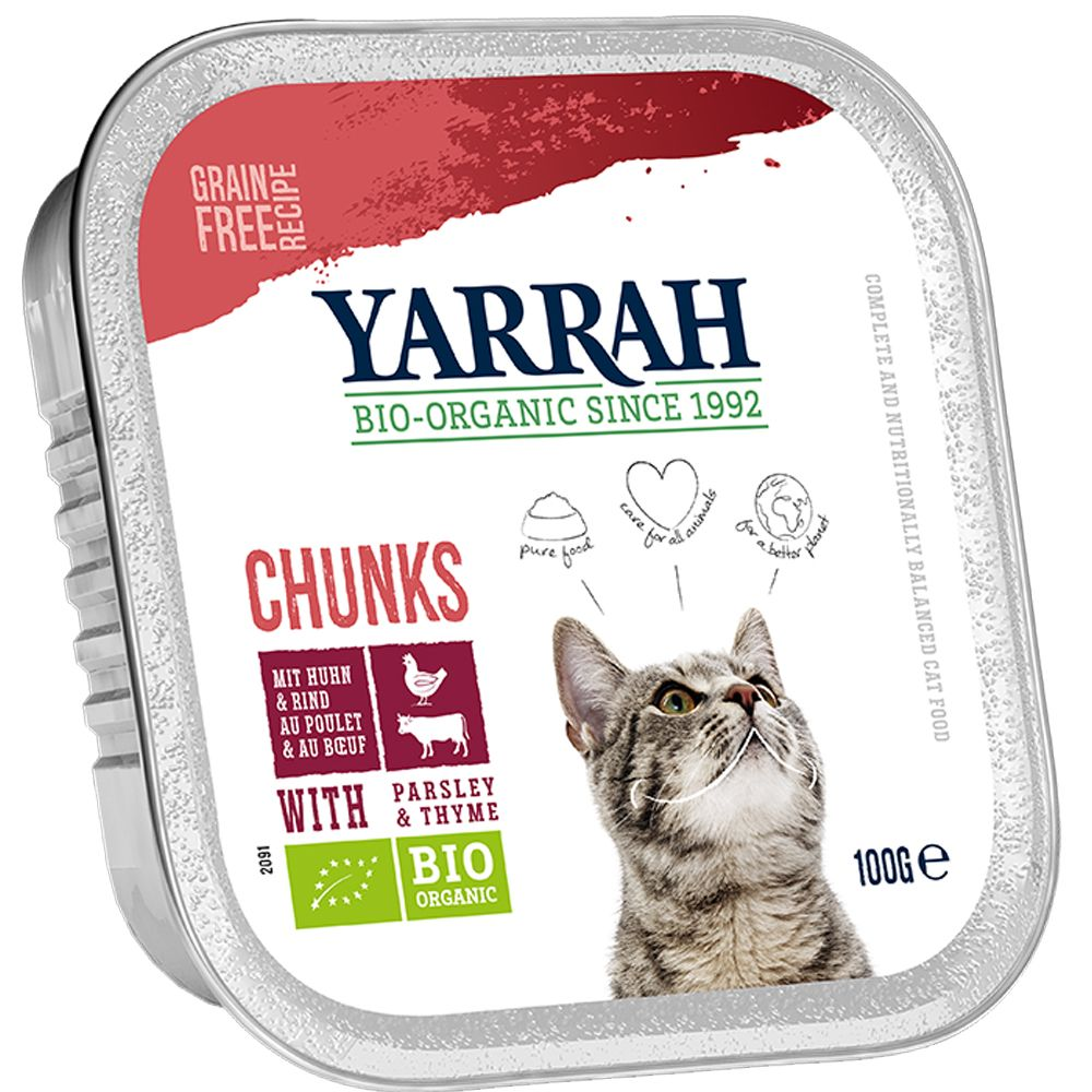 Beef with Chicory Yarrah Organic Tray Wet Cat Food