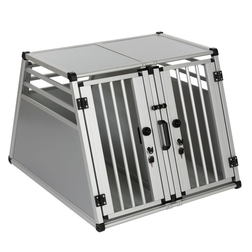 Autohundebox AluRide Doppelbox - Größe L: B 80 x T 92 x H 65 cm