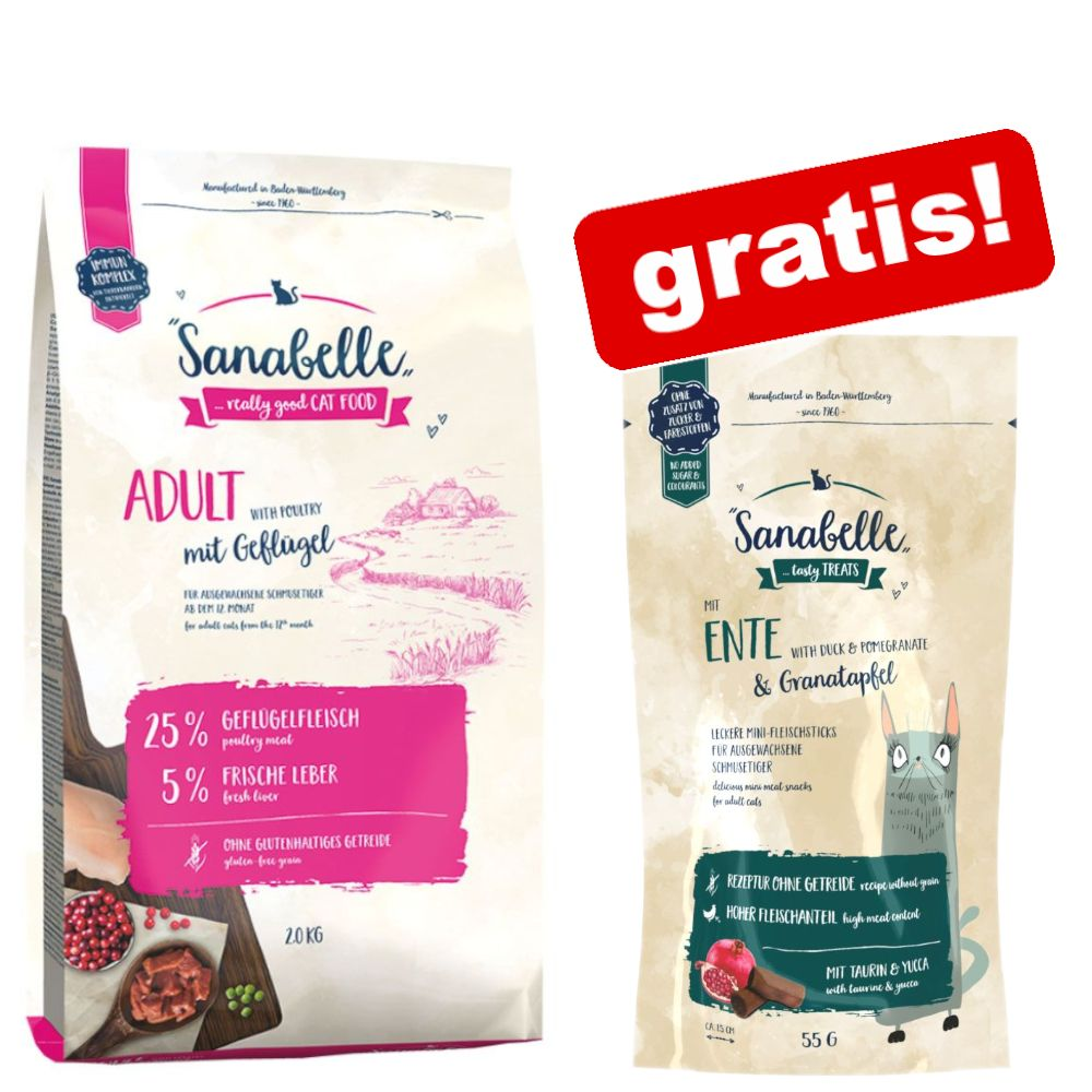 2 kg Sanabelle + Cat-Stick No Grain på köpet! - Indoor Fasan