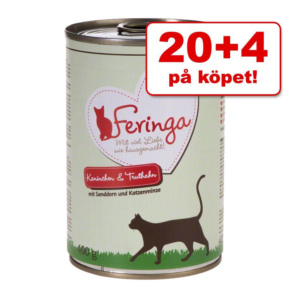 20 + 4 på köpet! 24 x 400 g Feringa Menu Duo - Lamm & kanin med tranbär & krasse