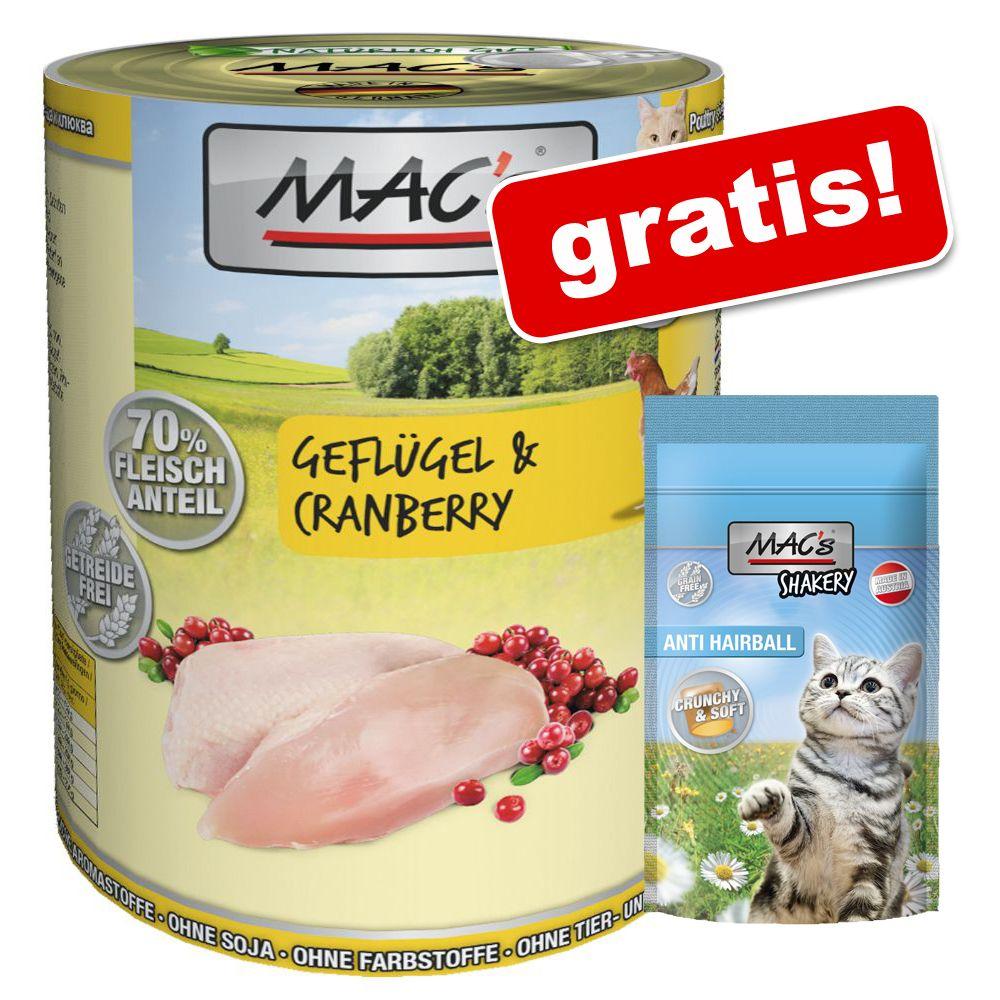 6 x 800 g MAC's Cat kattfoder + 60 g Shakery Snack på köpet! - Anka, kanin & nötkött