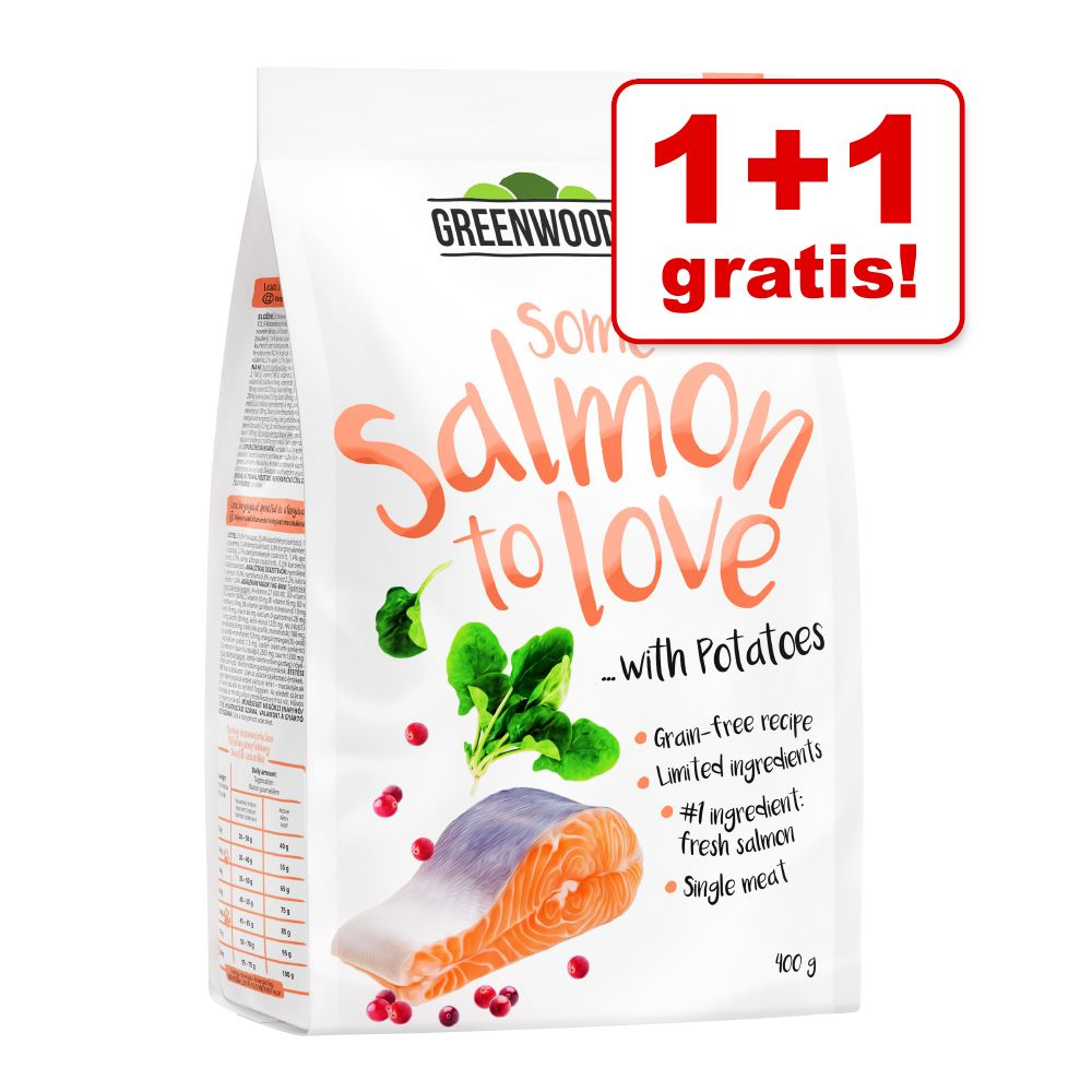 1 + 1 på köpet! Greenwoods torrfoder katt 2 x 400 g Turkey with Sweet Potato, Peas & Pumpkin