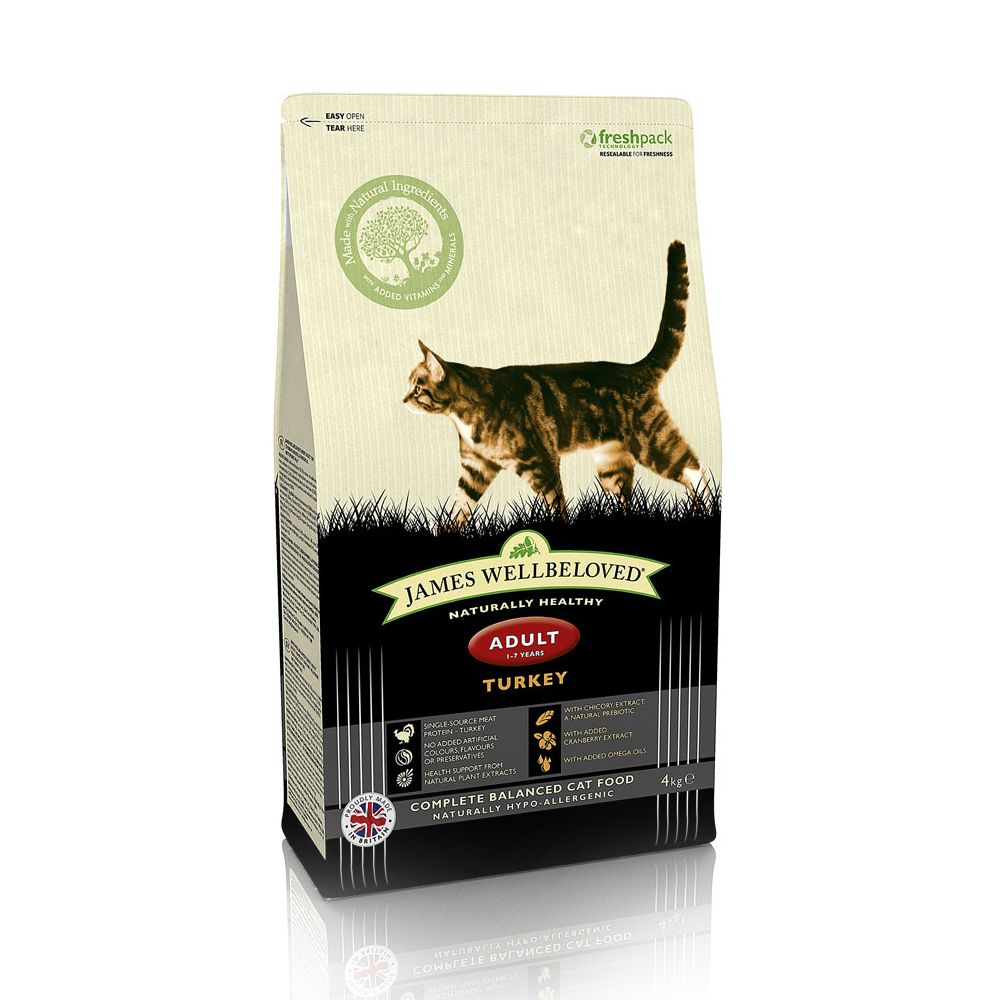 4kg James Wellbeloved Dry Cat Food + Pawty Fleece Blanket Free!* - Adult Cat Oral Health -Turkey (4kg)