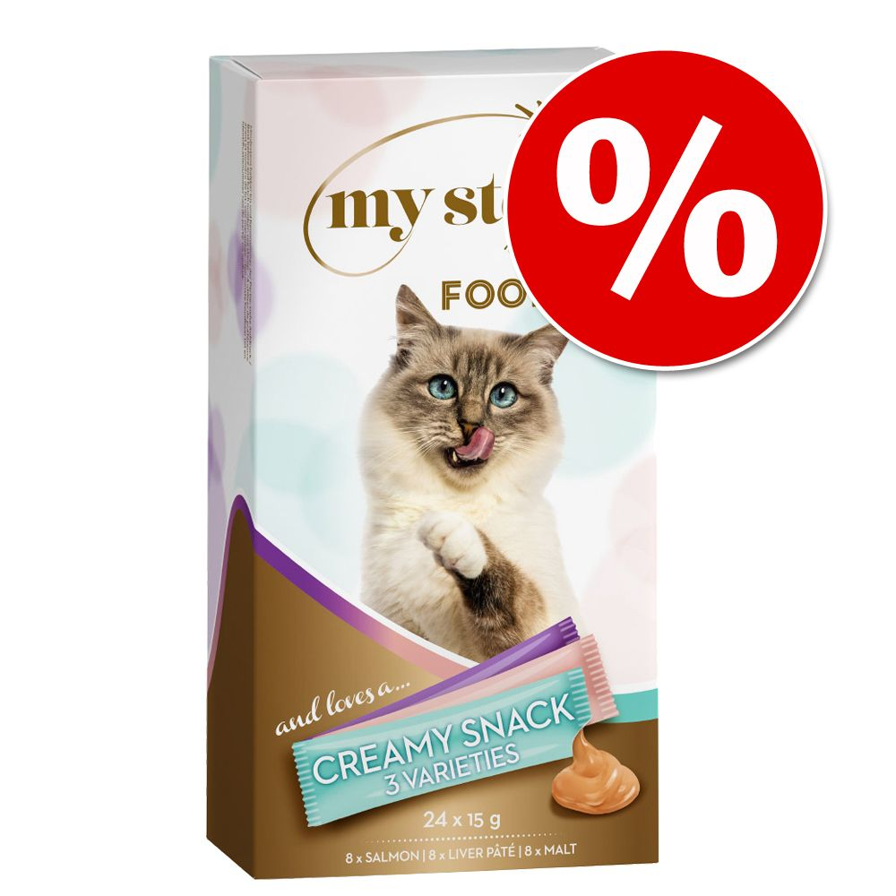 Ekonomipack: My Star Creamy Snack 72 x 15 g - My Star is a Champion - Salmon-Cream