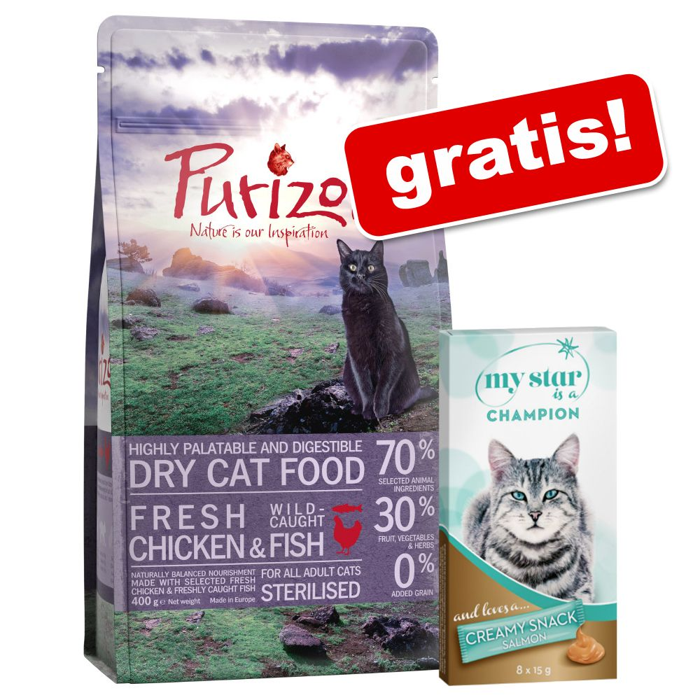 Image of 400 g Purizon + 8 x 15 g My Star is a Champion - Creamy Snack Salmone gratis! - Adult Agnello & Pesce