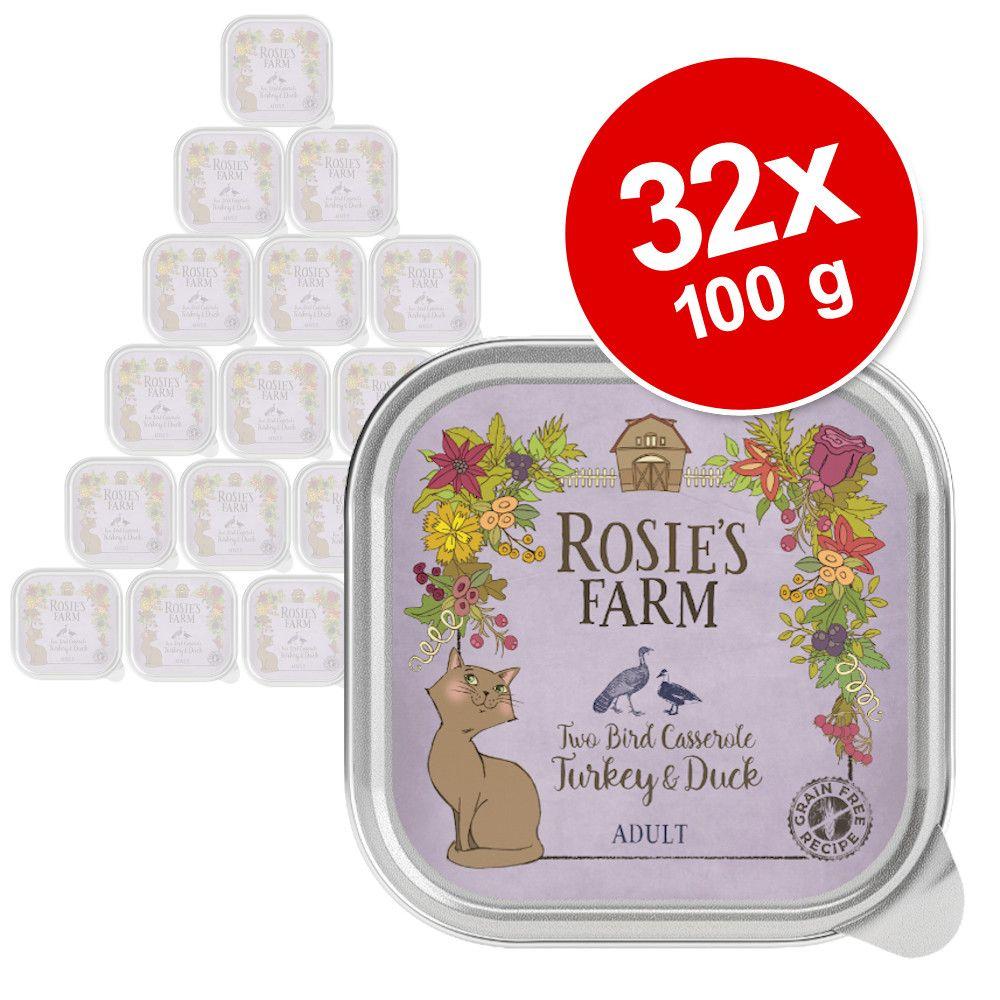 27 + 5 gratis! Rosie's Farm 32 x 100 g  - Kitten: Huhn & Forelle