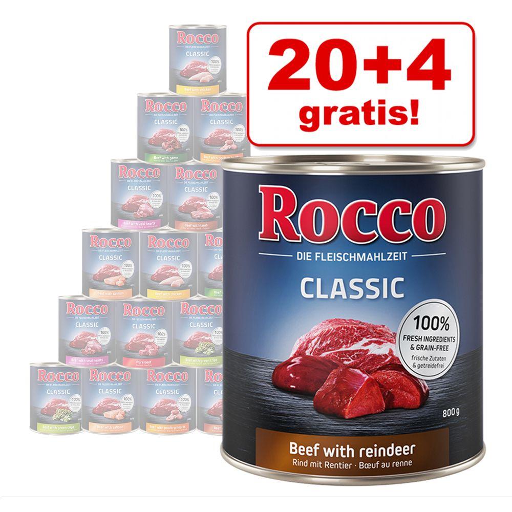 20 + 4 gratis! 24 x 800 g Rocco Classic vådfoder - Okse med kylling