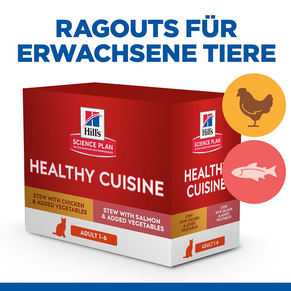 Hill's Science Plan Adult Healthy Cuisine mit Huhn & Lachs - 8 x 80 g