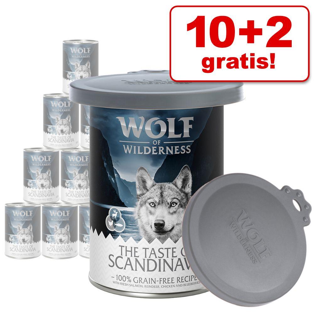 10 + 2 + burklock på köpet! 12 x 400 g/ 800 g Wolf of Wilderness våtfoder - The Taste Of mix (400 g)