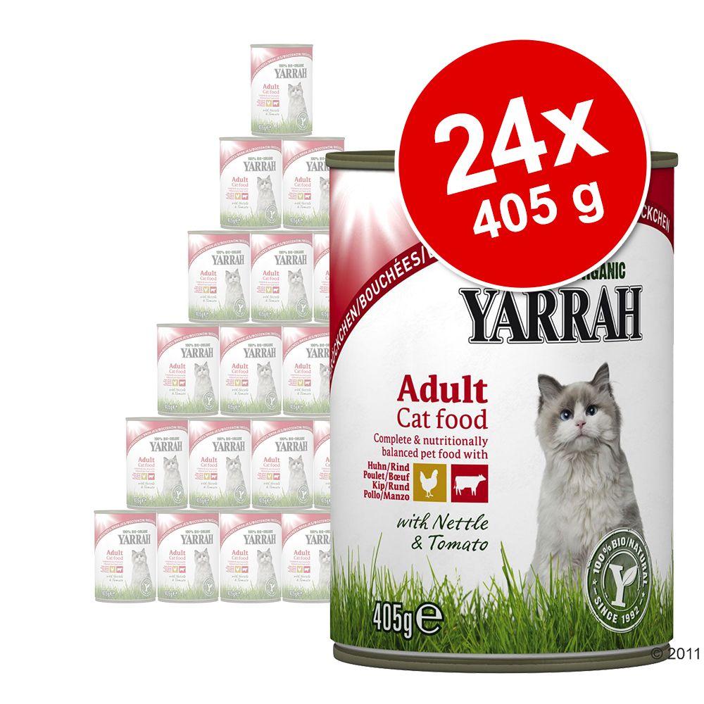 Sparpaket Yarrah Bio Bröckchen 24 x 405 g - Mixpaket Huhn & Rind + Huhn