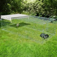 Kerbl Metal Run with escape barrier - 200 x 100 x 60 cm (L x W x H)