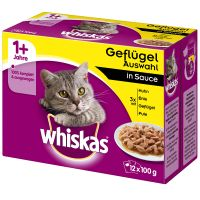 48 x 100g Whiskas Wet Cat Food + 90g Whiskas Temptations Free!* - Poultry Selection in Jelly (48 x 100g) + Salmon Temptations (90g)