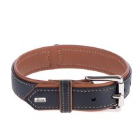 Hunter Canadian Dog Collar - Black / Cognac - Size 55: 42-48cm neck circumference