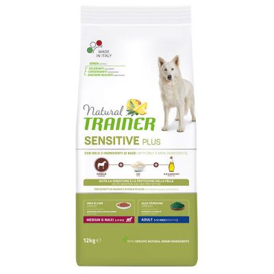 Levně Natural Trainer Sensitive Plus Adult Medium/Maxi - kůň - 12 kg