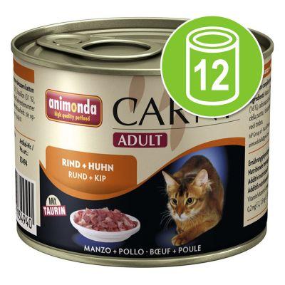 Animonda Carny - Animonda Carny Adult Voordeelpakket 12 x 200 g - Combinatie met Gevogelte en Rund