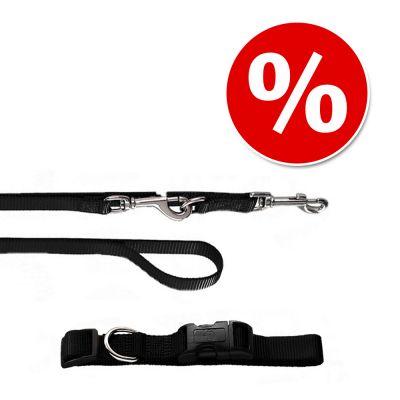 HUNTER Ecco Sport: talutushihna ja kaulapanta, musta - kaulapannan koko S + talutushihna 110 cm/15 mm