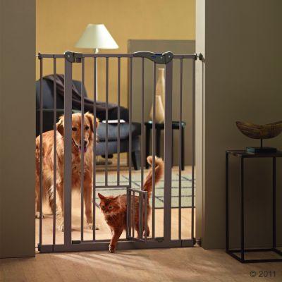 Dog Barrier 2 hundgrind med kattdörr – H 107 x B 75-84 cm