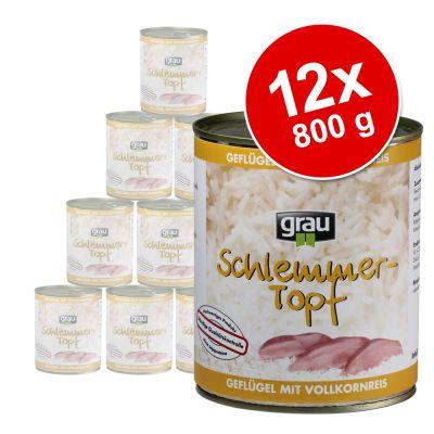 Grau Feast -säästöpakkaus 12 x 800 g - naudanliha & täysjyväriisi