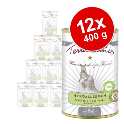 Terra Canis Hypoallergen -säästöpakkaus 12 x 400 g – kenguru ja palsternakka