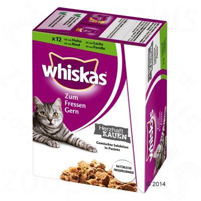 Whiskas Bite & Chew 12 x 85 g – Kyckling, oxkött, lax & forell