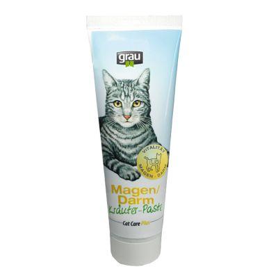 100g Cat Care Plus Maag Darm Kruiden Pasta Grau Kattensnack
