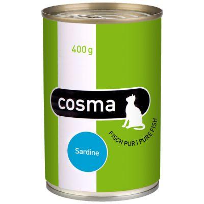 Cosma Original hyytelössä 6 x 400 g - lajitelma: tonnikala, kana & sardiini
