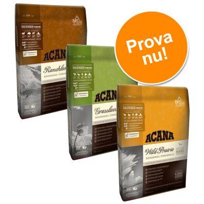 Provpack: 3 x 2,27 kg Acana hundfoder – 3 x 2,27 kg: Grassland, Wild Prairie & Ranchlands