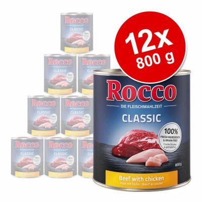 Rocco Classic -säästöpakkaus 12 x 800 g - nauta ja villisika