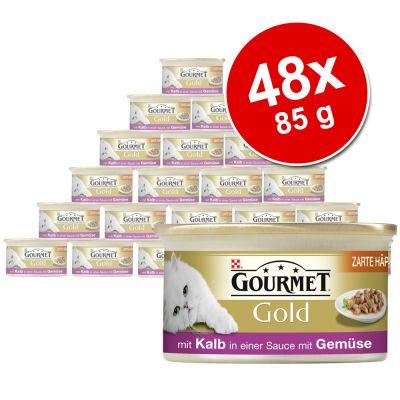 Blandat paket Gourmet Gold Bitar i sås 48 x 85 g – Kanin, Lax & Kyckling, Kalkon & Anka, Nötkött