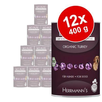 Herrmanns Menu 12 x 400 g, viljaton – luomuankka, bataatti, kurpitsa & iltahelokkiöljy