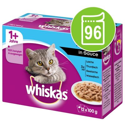 Säästöpakkaus: Whiskas 1+ Adult Pouches 96 x 85 g / 100 g - 96 x 100 g perinteinen kastikevalikoima